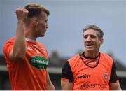 4 July 2021; Armagh manager Kieran McGeeney with Rian O'Neill after the Ulster GAA Football Senior Championship Quarter-Final match between Armagh and Antrim at the Athletic Grounds in Armagh. Photo by David Fitzgerald/Sportsfile