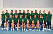 6 July 2021; Team Ireland has officially selected the Men's Rugby Sevens Team who will compete at the Olympic Games in Tokyo. Following their exciting dominance in the final Olympic Repechage in Monaco, the Irish team have made history in becoming the first Rugby team that will compete for Ireland at the Olympic Games. Pictured are Team Ireland rugby 7's squad and management, back row, from left, physio Orla Armstrong, doctor Stuart O'Flanagan, analyst Alan Walsh, Adam Leavy, Jack Kelly, Harry McNulty, Terry Kennedy, Jordan Conroy, Bryan Mollen, strength and conditioning coach Ed Slattery, assistant coach James Topping, head coach Anthony Eddy and front row, from left, Gavin Mullin, Hugo Lennox, Foster Horan, Billy Dardis, Mark Roche, Greg O'Shea and Ian Fitzpatrick during a Tokyo 2020 Official Team Ireland Announcement for Rugby 7s at Sport Ireland Campus in Dublin. Photo by David Fitzgerald/Sportsfile
