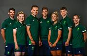 8 July 2021; Team Ireland track cyclists, from left, Felix English, Emily Kay, Mark Downey, head coach Martyn Irvine, Shannon McCurley, Fintan Ryan and Lydia Gurley on the day they received their Olympic kit for Tokyo 2020. They will be competing in the Izu Velodrome from the 5 – 8 August. Photo by David Fitzgerald/Sportsfile