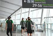 6 July 2021; Shamrock Rovers players including Joey O'Brien, left, and Ronan Finn, right, pictured at Dublin Airport prior to their departure for Bratislava for their UEFA Champions League First Qualifying Round 1st leg against Slovan Bratislava. Photo by Sam Barnes/Sportsfile