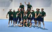 5 July 2021; Team Ireland rugby 7's squad, from left, Hugo Lennox, Foster Horan, Adam Leavy, Gavin Mullin, Jack Kelly, Mark Roche, Billy Dardis, Terry Kennedy, Harry McNulty, Jordan Conroy, Bryan Mollen, Greg O'Shea and Ian Fitzpatrick during a Tokyo 2020 Official Team Ireland Announcement for Rugby 7s at Sport Ireland Campus in Dublin.  Photo by Brendan Moran/Sportsfile