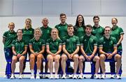8 July 2021; Team Ireland track cycling team and management, back row, from left, physiotherapist Dee Quinn, physiologist Ciara O'Connor, coach Tommy Evans, head coach Martyn Irvine, psychologist Jessie Barr, covid liaison officer Craig Dowling, video analyst Laura Ostler and front row, from left, Lydia Gurley, Shannon McCurley, Emily Kay, Fintan Ryan, Felix English and Mark Downey on the day they received their Olympic kit for Tokyo 2020. They will be competing in the Izu Velodrome from the 5 – 8 August. Photo by Brendan Moran/Sportsfile