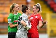 3 July 2021; Saoirse Noonan of Shelbourne with Peamount United goalkeeper Niamh Reid-Burke during the SSE Airtricity Women's National League match between Shelbourne and Peamount United at Tolka Park in Dublin. Photo by Eóin Noonan/Sportsfile