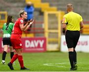 3 July 2021; Saoirse Noonan of Shelbourne protests to referee Mark Patchell during the SSE Airtricity Women's National League match between Shelbourne and Peamount United at Tolka Park in Dublin. Photo by Eóin Noonan/Sportsfile
