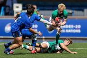 7 July 2021; Jamie Osborne of Ireland breaks past the Italy defence during the U20 Six Nations Rugby Championship match between Italy and Ireland at Cardiff Arms Park in Cardiff, Wales. Photo by Chris Fairweather/Sportsfile