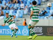 7 July 2021; Ronan Finn of Shamrock Rovers has a shot on goal during the UEFA Champions League first qualifying round first leg match between Slovan Bratislava and Shamrock Rovers at Tehelné pole Stadium in Bratislava, Slovakia. Photo by Grega Valancic/Sportsfile