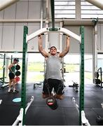9 July 2021; Greg O'Shea during an Ireland Men's Rugby Sevens gym session at the Sport Ireland Campus in Dublin. With just over two weeks until the 2020 Tokyo Games commence, the Sport Ireland Campus has been hosting Ireland's Tokyo bound athletes and teams as they make their final preparations for the Olympic and Paralympic Games. Irish athletes from a multitude of sports have been using the world class facilities including; Olympic veteran and modern pentathlete, Natalya Coyle, Paralympic swimmer Ellen Keane, gymnast Rhys McClenaghan and the Ireland women's hockey team and Ireland Men's Rugby Sevens team. Photo by David Fitzgerald/Sportsfile