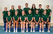 5 July 2021; Team Ireland track cycling team and management, back row, from left, physiotherapist Dee Quinn, physiologist Ciara O'Connor, coach Tommy Evans, head coach Martyn Irvine, psychologist Jessie Barr, covid liaison officer Craig Dowling, video analyst Laura Ostler and front row, from left, Lydia Gurley, Shannon McCurley, Emily Kay, Fintan Ryan, Felix English and Mark Downey during a Tokyo 2020 Official Team Ireland Announcement for Cycling at Sport Ireland Campus in Dublin. Photo by David Fitzgerald/Sportsfile