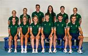 5 July 2021; Team Ireland track cycling tem ana management, back row, from left, physio Dee Quinn, physiologist Ciara O'Connor, head coach Martyn Irvine, psychologist Jessie Barr, covid liaison officer Craig Dowling, video analyst Laura Ostler and front row, from left, Lydia Gurley, Shannon McCurley, Emily Kay, Fintan Ryan, Felix English and Mark Downey during a Tokyo 2020 Official Team Ireland Announcement for Cycling at Sport Ireland Campus in Dublin. Photo by David Fitzgerald/Sportsfile