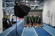 5 July 2021; Team Ireland track cyclists, from left, Felix English, Emily Kay, Mark Downey, Shannon McCurley, Fintan Ryan and Lydia Gurley during a Tokyo 2020 Official Team Ireland Announcement for Cycling at Sport Ireland Campus in Dublin. Photo by Brendan Moran/Sportsfile