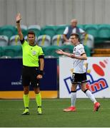 8 July 2021; Daniel Kelly of Dundalk reacts after seeing his goal ruled out for offside by referee Barbeno Luca during the UEFA Europa Conference League first qualifying round first leg match between Dundalk and Newtown at Oriel Park in Dundalk, Louth. Photo by Seb Daly/Sportsfile