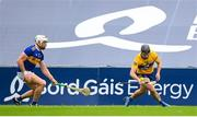 4 July 2021; Ian Galvin of Clare in action against Padraic Maher of Tipperary during the Munster GAA Hurling Senior Championship Semi-Final match between Tipperary and Clare at LIT Gaelic Grounds in Limerick. Photo by Stephen McCarthy/Sportsfile