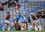 3 July 2021; Chris Crummey of Dublin in action against Pádraic Mannion, left, and Daithí Burke of Galway during the Leinster GAA Hurling Senior Championship Semi-Final match between Dublin and Galway at Croke Park in Dublin. Photo by Piaras Ó Mídheach/Sportsfile