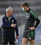 10 July 2021; Kerry manager Peter Keane speaks with David Clifford before the Munster GAA Football Senior Championship Semi-Final match between Tipperary and Kerry at Semple Stadium in Thurles, Tipperary. Photo by Piaras Ó Mídheach/Sportsfile