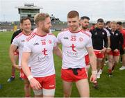 10 July 2021; Frank Burns, left, and Cathal McShane of Tyrone following the Ulster GAA Football Senior Championship quarter-final match between Tyrone and Cavan at Healy Park in Omagh, Tyrone. Photo by Stephen McCarthy/Sportsfile