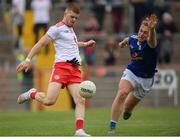 10 July 2021; Cathal McShane of Tyrone in action against Padraig Faulkner of Cavan during the Ulster GAA Football Senior Championship quarter-final match between Tyrone and Cavan at Healy Park in Omagh, Tyrone. Photo by Stephen McCarthy/Sportsfile