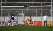 10 July 2021; Kerry goalkeeper Shane Ryan looks on as Conor Sweeney of Tipperary scores his side's first goal, from a penalty, during the Munster GAA Football Senior Championship Semi-Final match between Tipperary and Kerry at Semple Stadium in Thurles, Tipperary. Photo by Piaras Ó Mídheach/Sportsfile