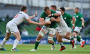 10 July 2021; Gavin Coombes of Ireland is tackled by Luke Carty and Nick Civetta of USA during the International Rugby Friendly match between Ireland and USA at the Aviva Stadium in Dublin. Photo by Brendan Moran/Sportsfile