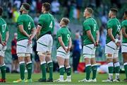 10 July 2021; Craig Casey of Ireland, centre, amongst team-mates, from left, Caelan Doris, Ryan Baird, Gavin Coombes and Fineen Wycherley during the national anthems before the International Rugby Friendly match between Ireland and USA at the Aviva Stadium in Dublin. Photo by Brendan Moran/Sportsfile