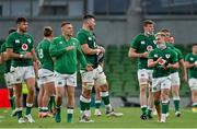 10 July 2021; Ireland players, Fineen Wycherley, centre, and Craig Casey celebrate after the International Rugby Friendly match between Ireland and USA at the Aviva Stadium in Dublin. Photo by Brendan Moran/Sportsfile