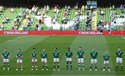 10 July 2021; Ireland players, from left, James Hume, Andrew Conway, Hugo Keenan, Dave Kilcoyne, Stuart McCloskey, Robert Baloucoune, Fineen Wycherley, Gavin Coombes, Craig Casey and Ryan Baird before the International Rugby Friendly match between Ireland and USA at the Aviva Stadium in Dublin. Photo by Ramsey Cardy/Sportsfile