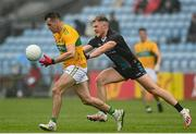 11 July 2021; Paddy Maguire of Leitrim in action against Darren McHale of Mayo during the Connacht GAA Senior Football Championship Semi-Final match between Leitrim and Mayo at Elverys MacHale Park in Castlebar, Mayo. Photo by Harry Murphy/Sportsfile