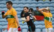 11 July 2021; Darren Coen of Mayo after scoring his side's first goal during the Connacht GAA Senior Football Championship Semi-Final match between Leitrim and Mayo at Elverys MacHale Park in Castlebar, Mayo. Photo by Harry Murphy/Sportsfile