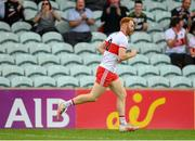 11 July 2021; Conor Glass of Derry celebrates scoring a point during the Ulster GAA Football Senior Championship Quarter-Final match between Derry and Donegal at Páirc MacCumhaill in Ballybofey, Donegal. Photo by Stephen McCarthy/Sportsfile