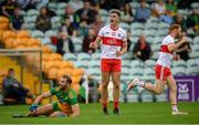 11 July 2021; Shane McGuigan of Derry celebrates after scoring a point during the Ulster GAA Football Senior Championship Quarter-Final match between Derry and Donegal at Páirc MacCumhaill in Ballybofey, Donegal. Photo by Stephen McCarthy/Sportsfile