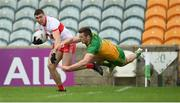 11 July 2021; Ciaran McFaul of Derry in action against Eoghan Ban Gallagher of Donegal during the Ulster GAA Football Senior Championship Quarter-Final match between Derry and Donegal at Páirc MacCumhaill in Ballybofey, Donegal. Photo by Stephen McCarthy/Sportsfile