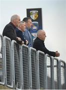 11 July 2021; BBC Sport Northern Ireland analysts, from left, Mickey Harte, Martin McHugh, Oisin McConville and Mark Sidebottom watch on during the Ulster GAA Football Senior Championship Quarter-Final match between Derry and Donegal at Páirc MacCumhaill in Ballybofey, Donegal. Photo by Stephen McCarthy/Sportsfile