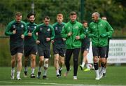 12 July 2021; Shamrock Rovers players, from left, Sean Hoare, Richie Towell, Sean Kavanagh, Rory Gaffney, Ronan Finn and Joey O'Brien during a Shamrock Rovers training session at Roadstone Group Sports Club in Dublin. Photo by Seb Daly/Sportsfile