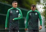 12 July 2021; Gary O'Neill, left, and Sean Kavanagh arrive before a Shamrock Rovers training session at Roadstone Group Sports Club in Dublin. Photo by Seb Daly/Sportsfile