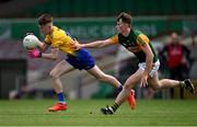 11 July 2021; Aaron Shannon of Roscommon in action against Dara O'Callaghan of Kerry during the 2020 Electric Ireland GAA Football All-Ireland Minor Championship Semi-Final match between Roscommon and Kerry at LIT Gaelic Grounds in Limerick. Photo by Piaras Ó Mídheach/Sportsfile