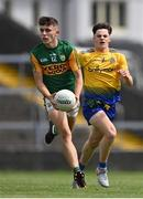 11 July 2021; Thomas O'Donnell of Kerry in action against Eoin Ward of Roscommon during the 2020 Electric Ireland GAA Football All-Ireland Minor Championship Semi-Final match between Roscommon and Kerry at LIT Gaelic Grounds in Limerick. Photo by Piaras Ó Mídheach/Sportsfile