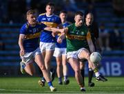 10 July 2021; Tom O'Sullivan of Kerry in action against Jason Lonergan of Tipperary during the Munster GAA Football Senior Championship Semi-Final match between Tipperary and Kerry at Semple Stadium in Thurles, Tipperary. Photo by Piaras Ó Mídheach/Sportsfile