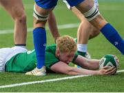 13 July 2021; Jamie Osborne of Ireland scores a try for his side during the U20 Six Nations Rugby Championship match between Ireland and France at Cardiff Arms Park in Cardiff, Wales. Photo by Mark Lewis/Sportsfile