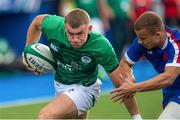 13 July 2021; Ben Moxham of Ireland is tackled by Alexandre Tchapchet of France during the U20 Six Nations Rugby Championship match between Ireland and France at Cardiff Arms Park in Cardiff, Wales. Photo by Mark Lewis/Sportsfile