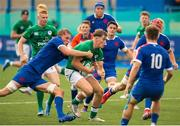 13 July 2021; Jude Postlethwaite of Ireland is tackled by Thomas Ployet of France during the U20 Six Nations Rugby Championship match between Ireland and France at Cardiff Arms Park in Cardiff, Wales. Photo by Mark Lewis/Sportsfile