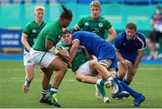 13 July 2021; Jude Postlethwaite of Ireland is tackled by Matthias Haddad Victor of France during the U20 Six Nations Rugby Championship match between Ireland and France at Cardiff Arms Park in Cardiff, Wales. Photo by Mark Lewis/Sportsfile