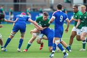 13 July 2021; Harry Sheridan of Ireland is tackled by Pierre Bochaton and Teo Bordenave of France during the U20 Six Nations Rugby Championship match between Ireland and France at Cardiff Arms Park in Cardiff, Wales. Photo by Mark Lewis/Sportsfile
