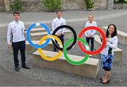 13 July 2021; Minister of State for Sport, the Gaeltacht & Defence, Jack Chambers TD, left, Team Ireland athletes Billy Dardis and Michelle Finn, and Minister for Media, Tourism, Arts, Culture, Sport and the Gaeltacht, Catherine Martin TD, extreme right, at the Sport Ireland Campus in Dublin. Photo by Ramsey Cardy/Sportsfile