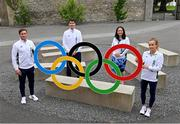 13 July 2021; Team Ireland athletes Billy Dardis, extreme left, and Michelle Finn, extreme right, with Minister of State for Sport, the Gaeltacht & Defence, Jack Chambers TD, Minister for Media, Tourism, Arts, Culture, Sport and the Gaeltacht, Catherine Martin TD, at the Sport Ireland Campus in Dublin. Photo by Ramsey Cardy/Sportsfile