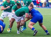 13 July 2021; Alex Kendellen of Ireland is tackled by Henzo Kiteau of France during the U20 Six Nations Rugby Championship match between Ireland and France at Cardiff Arms Park in Cardiff, Wales. Photo by Mark Lewis/Sportsfile
