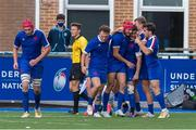 13 July 2021; France players celebrate a try during the U20 Six Nations Rugby Championship match between Ireland and France at Cardiff Arms Park in Cardiff, Wales. Photo by Mark Lewis/Sportsfile