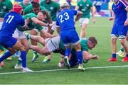 13 July 2021; Alex Kendellen of Ireland scores a try during the U20 Six Nations Rugby Championship match between Ireland and France at Cardiff Arms Park in Cardiff, Wales. Photo by Mark Lewis/Sportsfile