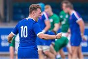 13 July 2021; Thibault Debaes of France celebrates a try during the U20 Six Nations Rugby Championship match between Ireland and France at Cardiff Arms Park in Cardiff, Wales. Photo by Mark Lewis/Sportsfile