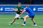 13 July 2021; Alex Kendellen of Ireland is tackled by Emilien Gailleton of France during the U20 Six Nations Rugby Championship match between Ireland and France at Cardiff Arms Park in Cardiff, Wales. Photo by Mark Lewis/Sportsfile