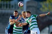 13 July 2021; Ronan Finn, right, and Rory Gaffney of Shamrock Rovers in action against Vasil Bozhikov, left, and Joeri de Kamps of Slovan Bratislava during the UEFA Champions League first qualifying round second leg match between Shamrock Rovers and Slovan Bratislava at Tallaght Stadium in Dublin. Photo by Stephen McCarthy/Sportsfile
