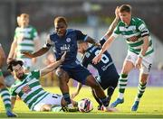 13 July 2021; Ezekiel Henty of Slovan Bratislava in action against Richie Towell, left, and Ronan Finn of Shamrock Rovers  during the UEFA Champions League first qualifying round second leg match between Shamrock Rovers and Slovan Bratislava at Tallaght Stadium in Dublin. Photo by Stephen McCarthy/Sportsfile